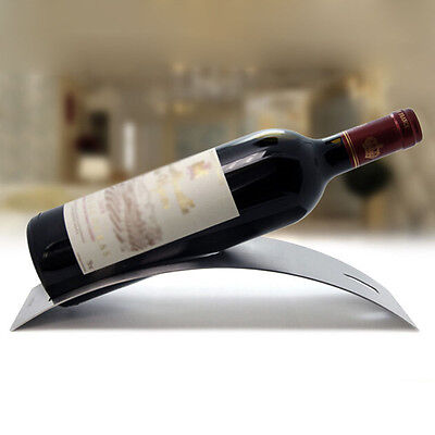 1x Silver Crescent Moon Wine Rack Stainless Steel Metal Bottle Holder Multi Use