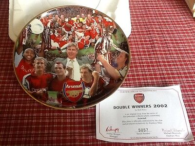 """Authentic Arsenal porcelain collectors plate """"Double winners 2002"""" by Rob Perry"""