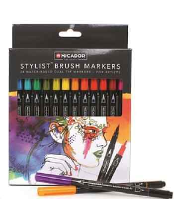 Micador Stylist Brush Water-Based Dual Tip Markers Pkt24 **RMABRUSH
