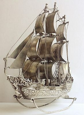 Antique solid silver three-master Sailing Ship 150 x 50 x 205 mm model, ca. 1900