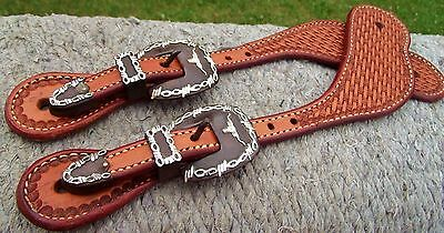 Sterling Silver Longhorn Iron Buckles+ Hand Tooled Wide Leather Spur straps Set