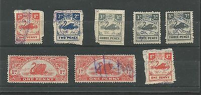 C2/03 WESTERN AUSTRALIA  SWAN STAMPS as scanned  X 8