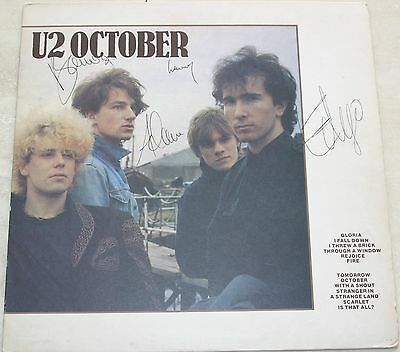 U2 -October First Uk Press Lp Fully Signed By All The Band Nice Clear Signatures
