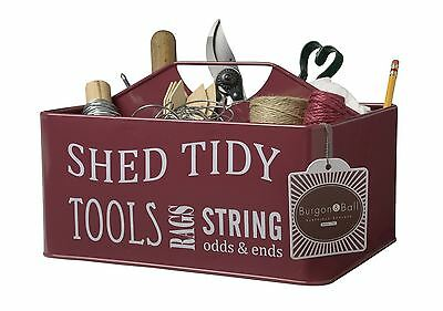 Burgon and Ball Enamel Shed Tidy / Caddy / tool carrier BURGUNDY