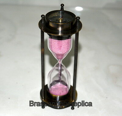 brass Vintage sand timer hour glass with both side compass