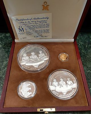 1987 Mo Mexico Salute to the US Constitution 4 Coin Set Silver and Gold