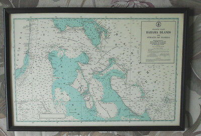 Antique vtg Bahama Islands & Straits of Florida Mercator Projection Map in Frame