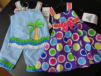 2 Rare Editions Girls Dress And Capris Seersucker Toddler Outfit Size 2  2T