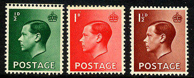 Great Britain Edward VIII - the Set of 3 SG 457Wi -459Wi Inverted Watermark UMM