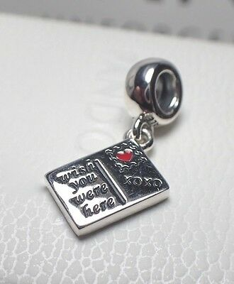Authentic Pandora Charm Wish You Were Here Post Card 791711Enmx