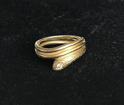 Beautiful Antique Victorian 18ct Gold And Diamond Snake Ring