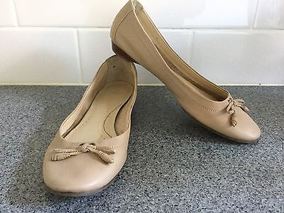 Diana Ferrari Leather Beige Ballet Flats Shoes Near New Condition - Size 8