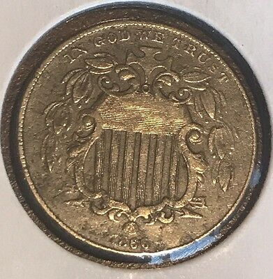 1866 shield nickel with rays In About Fine Condition #T-16