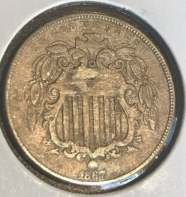 1867 shield nickel with rays In Nice Condition #T-26