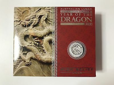 2012 Australian Lunar Series 2 Year of the Dragon 1 oz Silver Proof High Relief