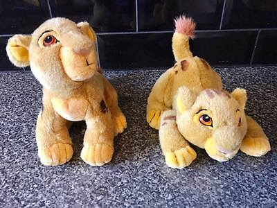 2 Rare Disney Store Vintage LION KING Baby SIMBA Cubs, Canasa Soft Plush Toys