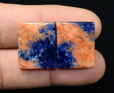 27.90  Cts. 100 % Natural  Pair Of  Multi Sodalite Cushion Cabs Loose  Gems
