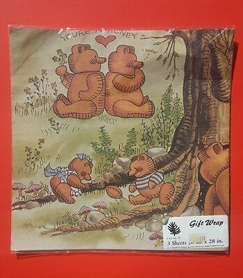 New in Plastic The Evergreen Press Co.Vintage Honey Bear Flat Wrap Paper-Cute!