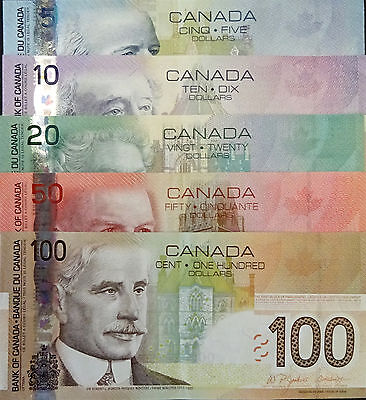 Set of Five  2004-2008 Canada Banknotes,, $5, $10, $20 , $50 & $100