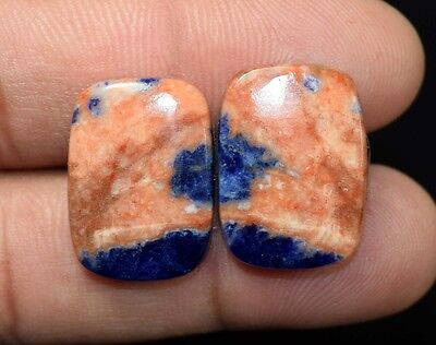 25.30  Cts. 100 % Natural  Pair Of  Multi Sodalite  Cushion  Cabs Loose  Gems