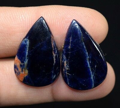 25.95  Cts. 100 % Natural  Pair Of  Multi Sodalite  Pear  Cabs Loose  Gems
