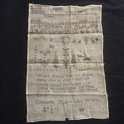 Genuine Early Victorian Needlework Sampler Dated 1845.  Charity Auction