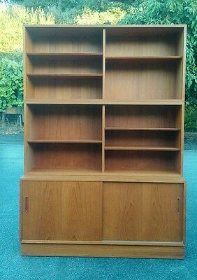 HUNDEVAD Danish Mid Century Modern 3 Section Teak Bookcase Storage Cabinet.