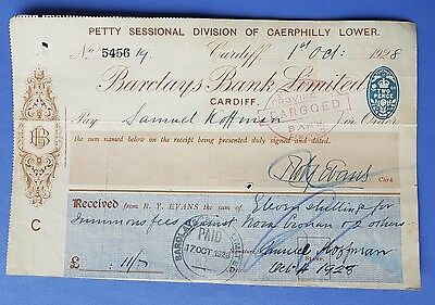 Vintage Bank Cheque. Barclays Bank Limited, Cardiff. 1928.