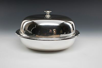 3 PIECE SiILVER, COVERED BUTTER DISH