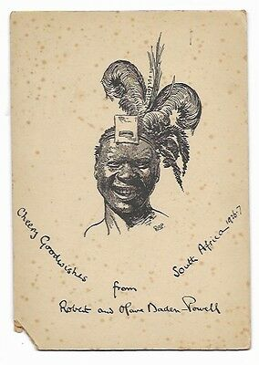 Baden Powell Sketch - New Years Card 1926/7 sent by Olave and Robert Baden Powel
