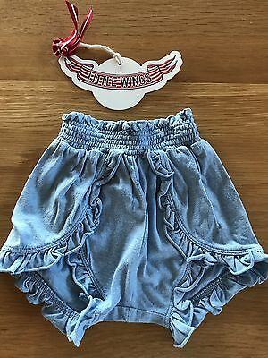 Little Wings Blue Ruffle Shorts Bloomers - 12m - Designer Baby
