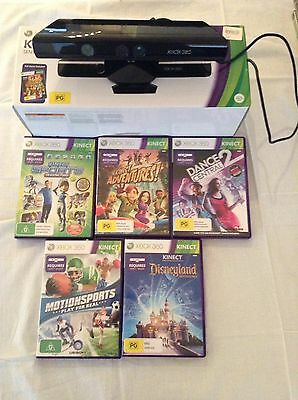 Xbox 360 Kinect Sensor Black + 5 Kinect Games  Ready To Play **like New **