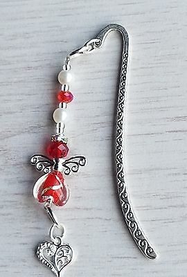 New Guardian Angel Bookmark With Heart Hanging Charm Novelty Gift Bookmarks