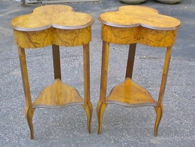 SUPERB Pair Pure Art Deco style maple side tables