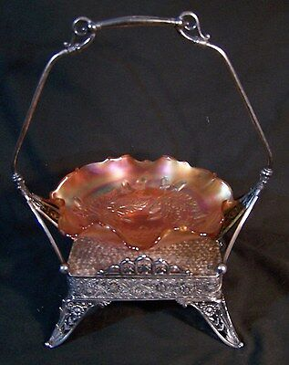 Antique TUFTS Silverplate Brides Basket w FENTON Carnival Art Glass Acorn Bowl