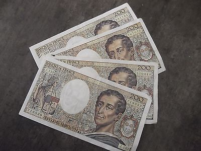 France. Lot 4 billets de 200 Francs Montesquieu. 1992-1992-1992-1992