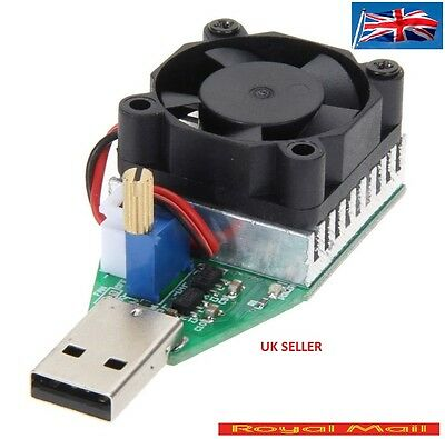 15W 3.7-13V  Electronic Load Resistor USB Discharge Battery Tester with fan #H36