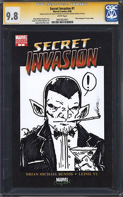 SECRET INVASION #1 CGC 9.8 SS / Skrull sketch by David Petersen (Mouse Guard)!
