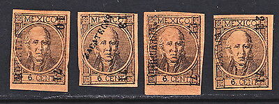 MEX 1868 FOUR 6c #58 DIFFERENT DISTRICTS MHG (H1782)