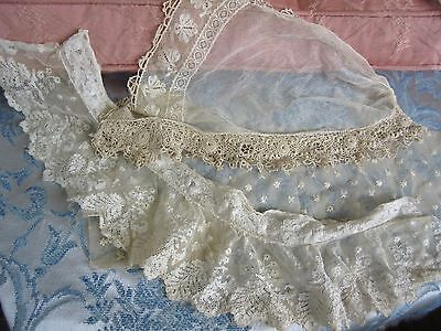 Antique Lace Irish Crochet Tambour Net Trim French Doll Dress Flounce Lot