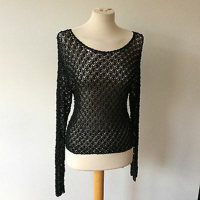 Vintage Black Knitted Crochet Beaded Retro Long Sleeved Top Size 10 12