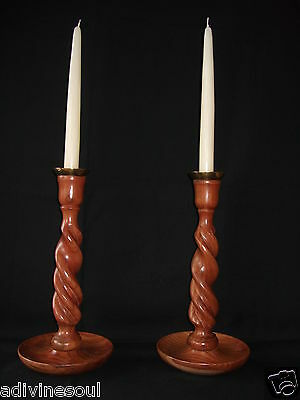 """One Pair of Tall Barley Twist Wooden Candlesticks - 30 cm - 12"""""""