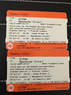 2 x adult Wishaw  Glasgow Cent To Manchester Airport Single tickets Wed 5th July