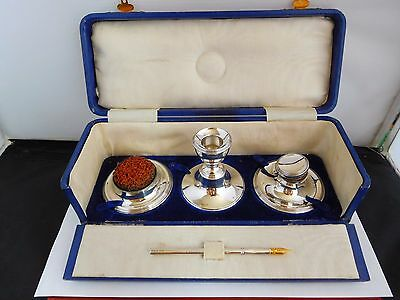 Scarce Cased Antique English Hallmarked Travelling Desk / Writing Set  - 1913