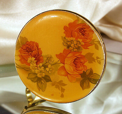 1950s Lip View Compact LIPSTICK HOLDER with ATTACHED MIRROR Floral Lucite Top