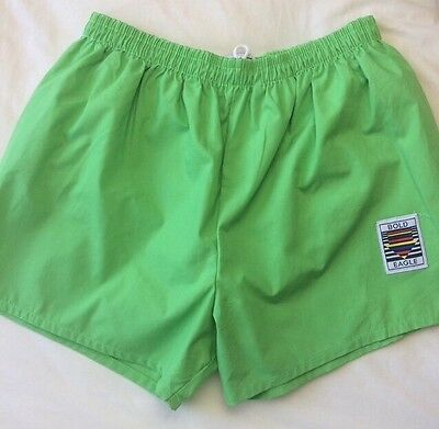 Vintage Men's Swimming Trunks Bottoms Board Shorts Lime Green Bold Eagle Size S