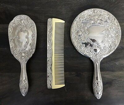 1940's Silver Plated Brush,Mirror and Comb Set By International Silver co.