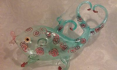 Glass Sea Life Christmas Ornament, Blue Fish with Heart Tail