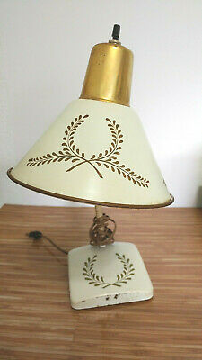 Vintage Metal Tole Lamp Cream White Gold Paint Desk Wall Mount  Mid Century
