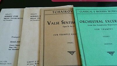 Sheet music and books for B flat trumpet + piano. Lot of 4